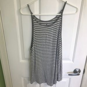 Gray and white striped tank from American Eagle